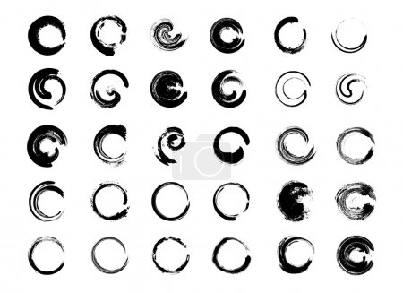 Illustration for Big collection of hand drawn circles. Vector grunge design elements. - Royalty Free Image