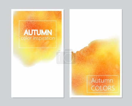 Orange, yellow, red watercolor universal card, flyer, background. Autumn colors. Place, frame for text, information, commercial.