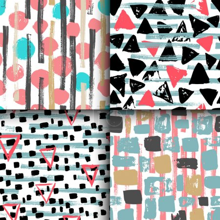 Collection of 4 hand drawn seamless geometric patterns.