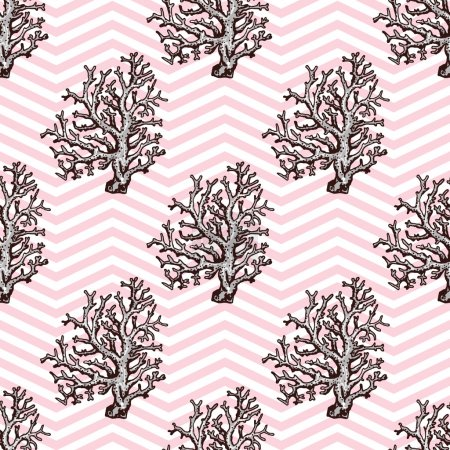 Seamless pattern with coral and geometrical background. Hand dra
