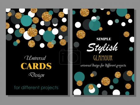 Collection of Universal Modern Stylish Cards Templates with Goldlen Glitter Dots.