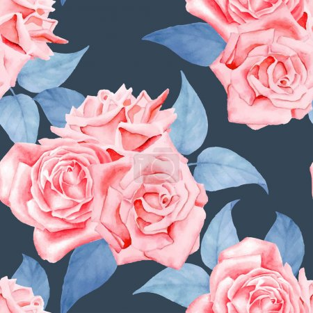 Illustration for Stylish  floral seamless pattern with roses, leaves - Royalty Free Image