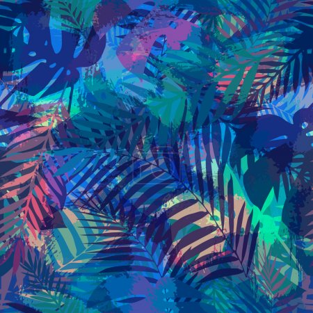 Illustration for Seamless tropical pattern with palm leaves - Royalty Free Image