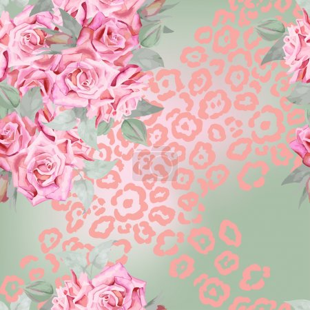 Illustration for Stylish  floral seamless pattern with roses, leaves and leopard fur prints. - Royalty Free Image