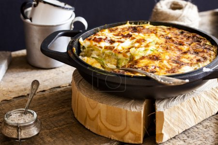 casserole of rice, vegetables and zucchini