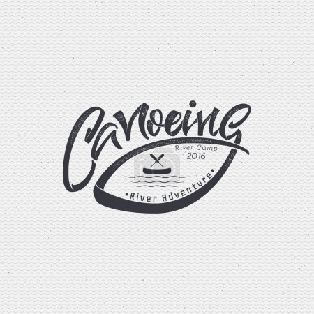 Canoeing badges logos sign handmade differences, made using calligraphy and lettering It can be used as insignia badge logo design