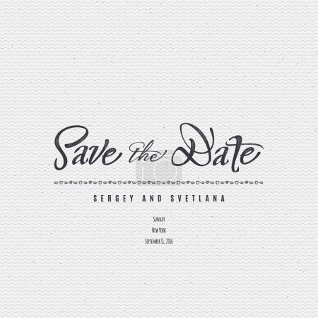 Illustration for Save the date - calligraphic lettering badge label for design invitation, with texture mapping imitation foil - Royalty Free Image