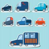 flat car icons on a white background