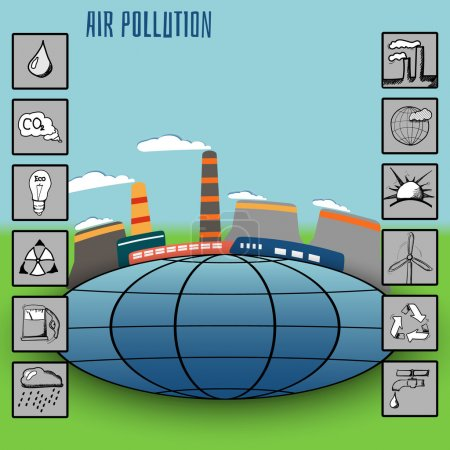 vector illustration for presentation and infographics and icons factory air pollution