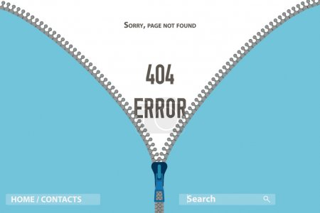 Zipper on clothing Page Not Found Error 404, vector illustration