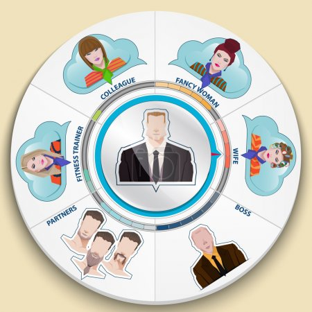 Set of flat color icons.businessman and his entour...