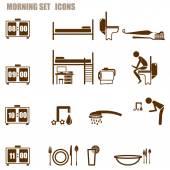 morning person icon set