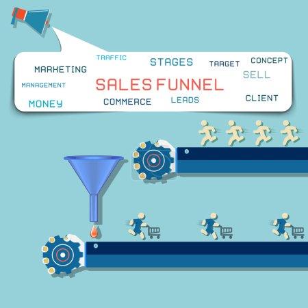 Sales funnel flat illustration, vector graphics.
