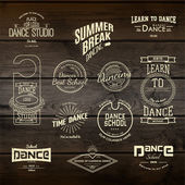 School of Dance badges logos and labels for any use on wooden background texture