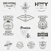 Honey badges logos and labels for any use on a white background