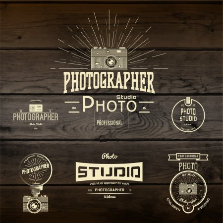Illustration for Photography logo badges logos and labels for any use, On wooden background texture - Royalty Free Image