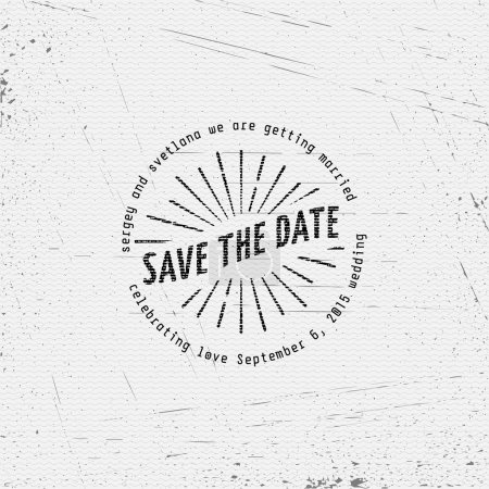 Illustration for Save the date badges cards and labels, can be used to design wedding cards, presentations, invitations - Royalty Free Image
