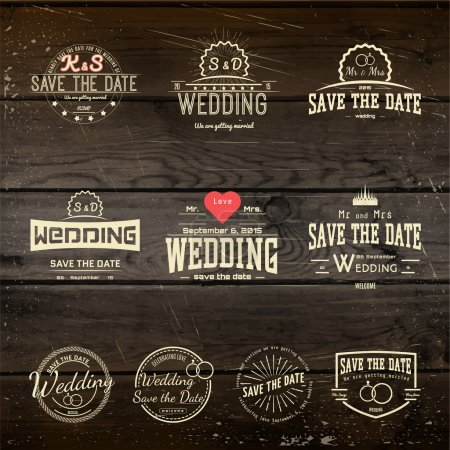 Illustration for Save the date badges cards and labels, can be used to design wedding cards, presentations, invitations on wooden background texture - Royalty Free Image