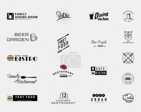 Illustration pour Les badges de restaurant logos et étiquettes peuvent être utilisés pour concevoir bistrot de signalisation, menu, restauration rapide, café, sur les cartes de visite et l'image de marque - image libre de droit