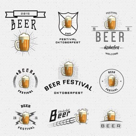 Illustration pour Badges de festival de bière logos et étiquettes pour tout usage, modèles de logo et éléments de design pour maison de bière, bar, pub, brasserie, brasserie, taverne, restaurant - image libre de droit