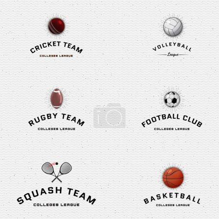 Cricket, volleyball, football, basketball, squash, rugby badges logos and labels for any use