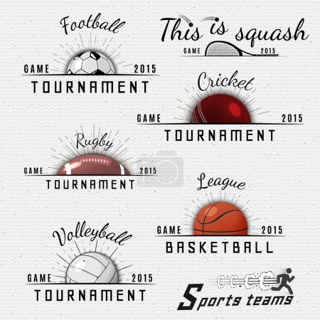 Illustration for Sports teams badges logos and labels can be used for design, presentations, brochures, flyers, sports equipment, corporate identity, sales - Royalty Free Image