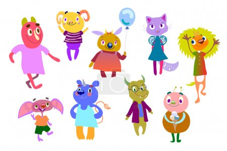 Set of bright multicolored monsters. Funny fantast...