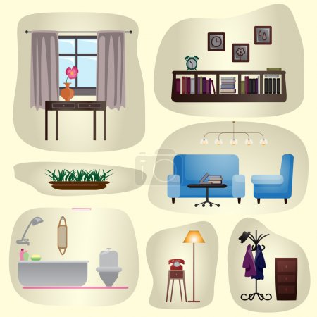Illustration for Set of vintage furniture and interiors. Isolated image. Vector illustration - Royalty Free Image