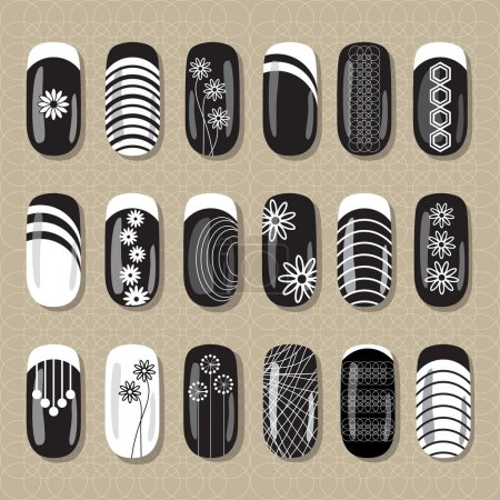 Nail design black and white