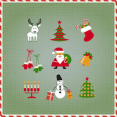Christmas set Santa Claus reindeer stockings gifts candles Christmas tree candy
