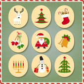 Christmas set Santa Claus reindeer stockings gifts candles Christmas tree snowman candy