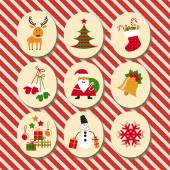 Christmas set Santa Claus reindeer stockings gifts candles Christmas tree snowman snowflake candy