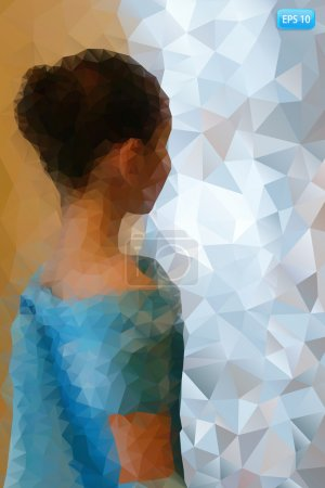 Girl in a blue ball gown. The background of the polygons