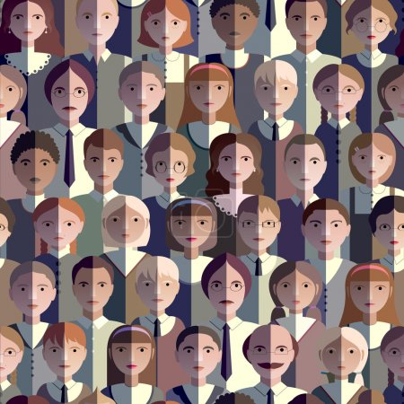 Seamless Pattern With Flat Icons Students, Students And Teachers