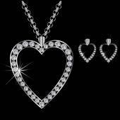Platinum or silver diamond necklace with earrings