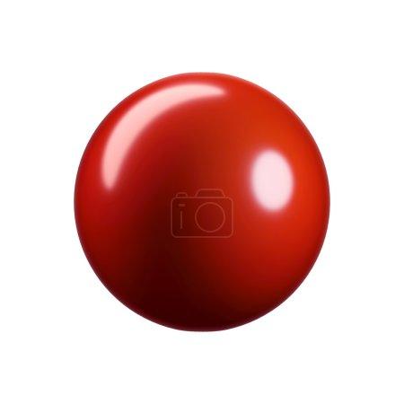 Photo pour Sphère en plastique rouge brillant 3D. Isolé sur blanc - image libre de droit