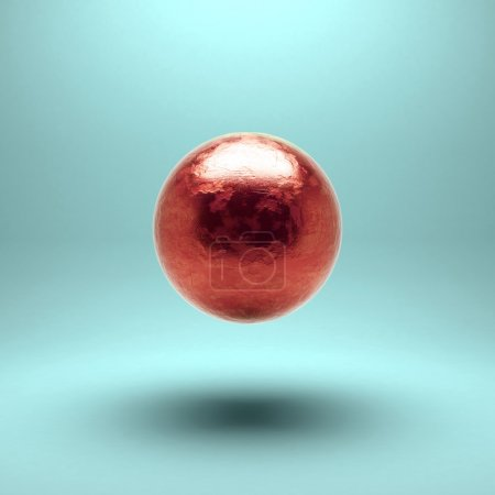 Photo for Gold sphere with detailed damages. Isolated - Royalty Free Image