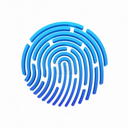 3D ID app icon. Fingerprint illustration