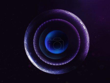 Foto de 3D ilustración de planetas del espacio abstracto. Diseño de interfaz de usuario y de la película futurista - Imagen libre de derechos