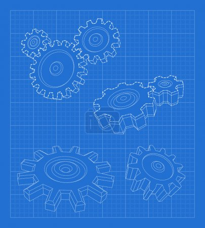 Illustration for Gears blueprint. Business concept. illustration. - Royalty Free Image
