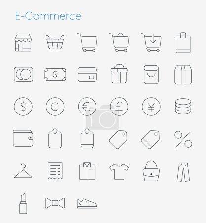 Illustration pour 33 Thin Icons Set of E-Commerce. Icônes de ligne simple pack . - image libre de droit