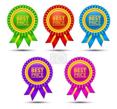 Illustration pour Meilleures étiquettes de couleur de prix avec des rubans. étiquettes vierges colorées pour vos œuvres d'art d'entreprise - image libre de droit