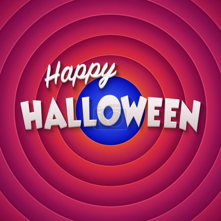 Movie ending screen with Happy Halloween label. Vector