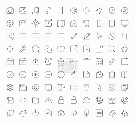 Illustration for Outline vector icons for web and mobile. Thin 1 pixel stroke & 60x60 resolution - Royalty Free Image