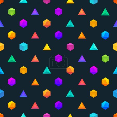 Polygon 3d objects Seamless geometric pattern. Vector