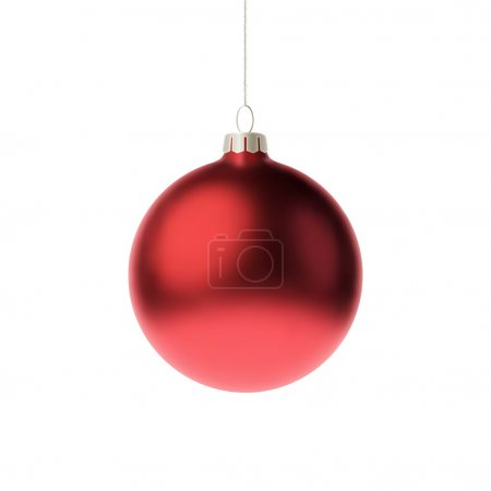 Red 3d christmas Bauble. Vector illustration