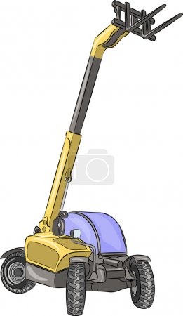 Telescopic wheel loader isolated on a white backgr...