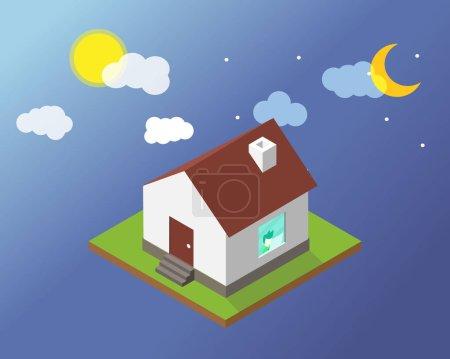 Illustration pour Travailler jour et nuit qui travaillent à la maison vous font vous sentir seul et surchargé de travail - image libre de droit