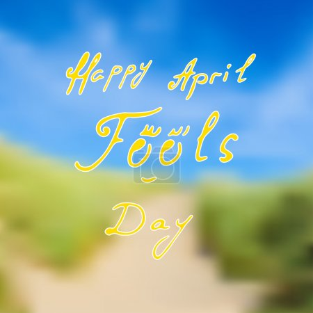 Illustration for Happy April Fools Day calligraphy, typography on blurred background - Royalty Free Image