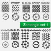 Zentangle Vector seamless patterns and brushes set 1 hand drawn frames Monochrome hipster prints backgrounds with linear doodles
